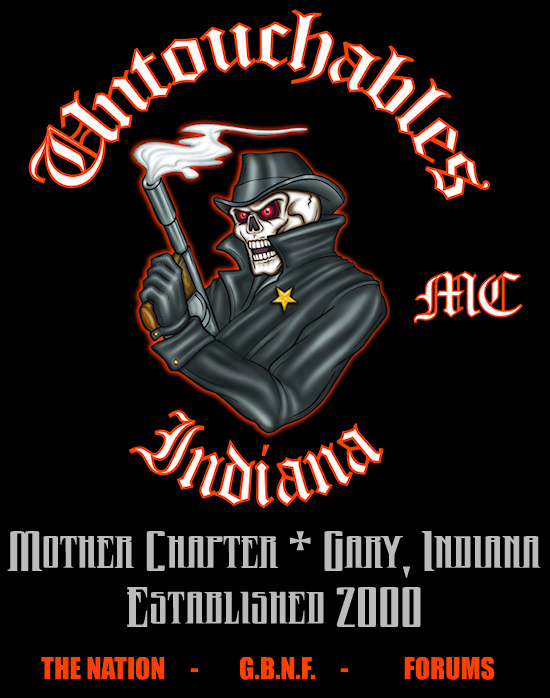 Untouchables Motorcycle Club, Mother Chapter - Gary, Indiana.  The Original Black & Orange